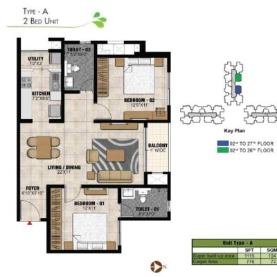 prestige-park-square-2bhk-floor-plan